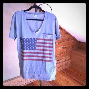Go Couture Vintage USA Skull Flag Tee, EUC, L